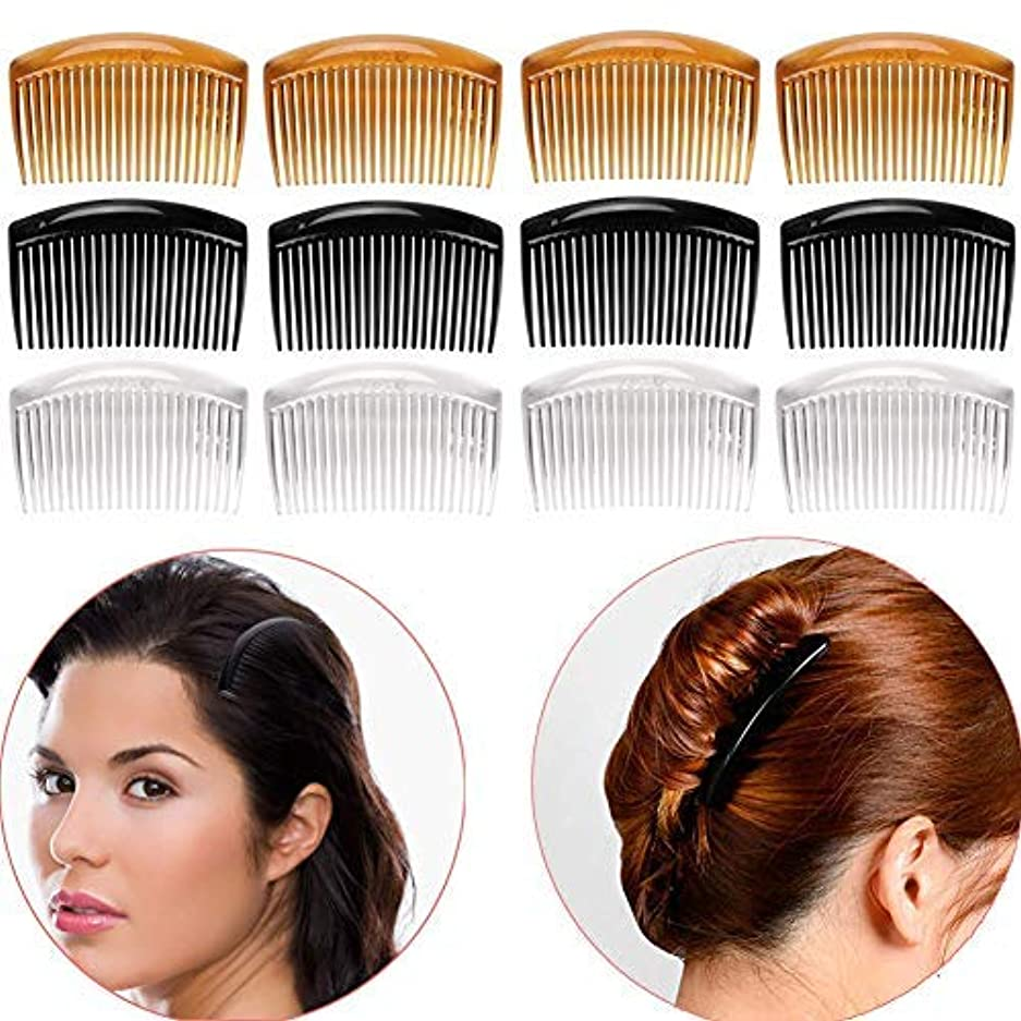 Luckycivia 12Pcs French Twist Comb, Plastic Side Hair Combs with 23 Teeth, Strong Hold No Slip Grip and Durable...