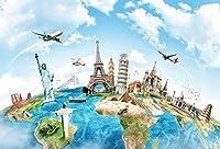 Yeele 8x 6ft Globe旅行Backdrop地球マップWorldwide Continent有名なランドマーク景色ホーム写真背景Infant Baby Adult Portrait写真ブースビニール壁紙Photocall Studio小道具