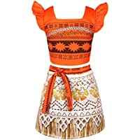 YiZYiF Princess Moana Costume Adventure Outfit Skirt Set Girls Kids Cosplay Dress up Clothes