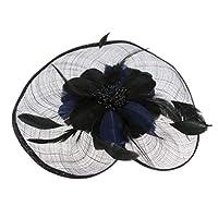 perfk 全5色 古典的 ヘアクリップ 帽子 レディース フェザー魅惑 ファッション 結婚式 パーティー 花嫁  - 紺