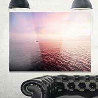 """デザインアートmt10432パープル曇りシースケープView Modernビーチメタル壁アート、パープル 28x12"""" パープル MT10432-28-12"""