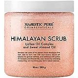 Majestic Pure Himalayan Salt Body Scrub with Lychee Oil, Exfoliating Salt Scrub to Exfoliate & Moisturize Skin, Deep Cleansin