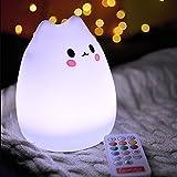 TINCINT シリカゲル猫型ランプ ベッドランプ LED雰囲気九つ色 USB充電式 タイマー設定機能 呼吸 グラデーションライト搭載 調光可能 ギフト/デコレーション 萌えニャンコ(リモコン付き)