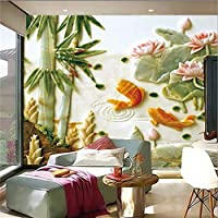 Bzbhart カスタム3Dステレオジェイドの壁画、金魚の蓮のパターン、リビングルームのソファテレビの壁の寝室の壁紙-450cmx300cm