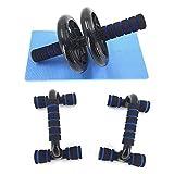 Wonnv アブホイール エクササイズウィル スリムトレーナー 超静音 腹筋ローラー マット付き & プッシュアップバー 腕立て伏せ トレーニング 筋力アップ 肉体改造 (ブラック)