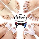 Bunion Corrector, FOONEE 9 Pack Highly Elastic Toe Separators, Bunion Splint Sleeves Kit Help Correct Hallux Valgus