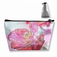 野性 ピンク ケシ ケシの花 化粧ポーチ 人気 大容量 台形 メイクポーチ トラベルポーチ 旅行 ハンドバッグ コスメ コイン 鍵 小物入れ 化粧品 収納ケース 小さな化粧品の袋