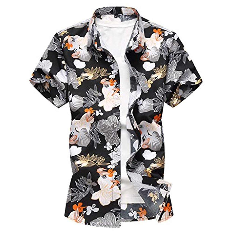 裏切り者絶望的な浴夏服 大きいサイズ M-7XL アロハシャツ メンズ ハワイ風 夏 開襟 ラペル UV対策 通気速乾 軽量 カジュアル 薄手 ゆったり 旅行 リゾート ビーチ 海 シャツ 半袖シャツ 花柄 ブラック ブルー