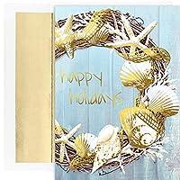 Masterpiece Studios クリスマスカード シェル・リース - 18枚のカードと封筒 (918600)