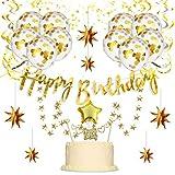 パーティー飾り付け ゴールド happy birthdayバナー 紙吹雪入れバルーン 子供 大人 誕生日パーティー 100日お祝いパーティー飾り 18歳 30歳 部屋飾り付け