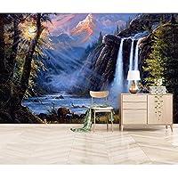 Mingld 油絵ビニール壁紙立体滝風景壁紙寝室用大型テレビデスクトップの壁紙壁画-250X175Cm