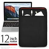 MacBook 12インチ 用 JustFit スリーブケース(ブラック&レッド) 柔らかくしっかりとしたネオプレン素材でマックブックをしっかりとガード・ACアダプタ&充電ケーブルが収納可能な前面ポケット付・専用設計だからジャストフィット!