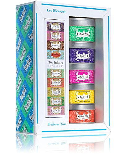 (KUSMI TEA) クスミティー ウェルネス ティー アソートメント パック with インフューザー (25g×3缶,20g×2...