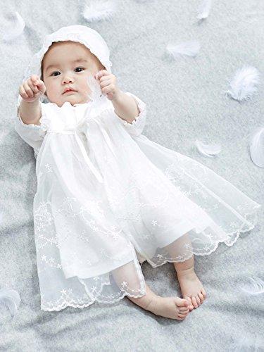 シンク・ビー ベビー 日本製 新生児 サマー セレモニー ドレス & 帽子 セット お宮参り 退院 50~70㎝ オフ ホワイト