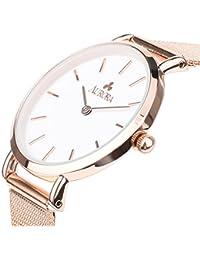 [オーロラ]Aurora ファッション 腕時計 ウォッチ 32mm メッシュベルト シンプル レディース(ローズゴールド+ホワイト)