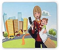 お母さん長方形マウスパッド、携帯電話を運ぶ忙しい女性と彼女の赤ちゃん漫画スタイルの図モダンデザイン、滑り止めラバーバッキングマウスパッド、多色