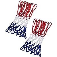 frienda 2 Pack Heavy Duty Basketball Net Fits標準屋内または屋外バスケットボールフープ、12ループレッド/ホワイト/ブルー)