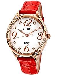 Comtex 腕時計 レディース レザー ベルト ウォッチ ローズゴールド 時計 防水 レッド