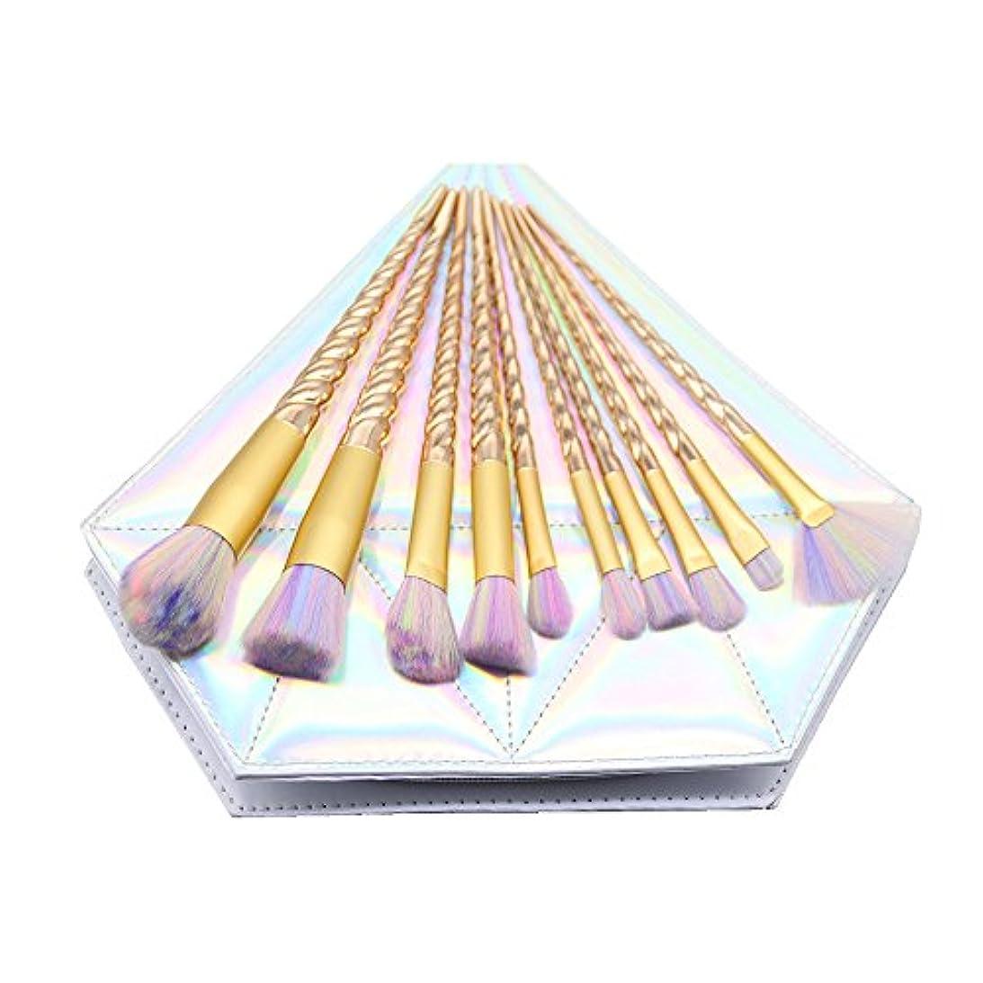 より多いスリップ適応的Dilla Beauty メイクブラシセット 10本セット ユニコーンデザイン プラスチックハンドル 合成毛 ファンデーションブラシ アイシャドーブラッシャー 美容ツール 化粧品のバッグ付き