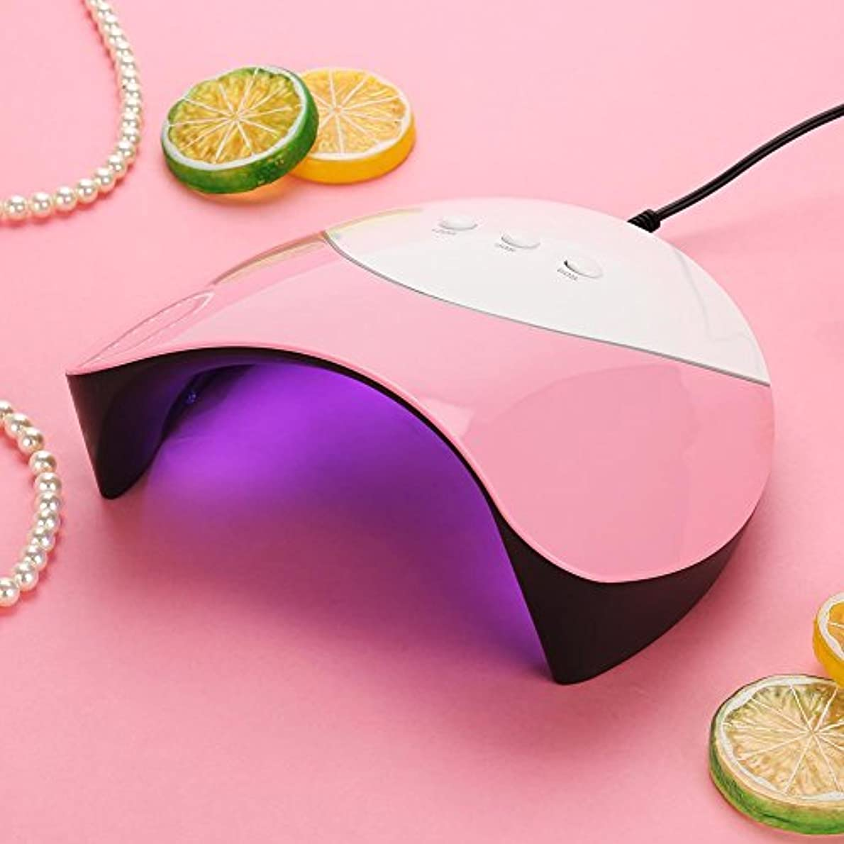 メンター乞食啓示ネイルドライヤー 36W UV&LEDライト 硬化 ジェルネイル ネイルアート 3つのタイマー 赤外線検知 自動センサー(ピンク)