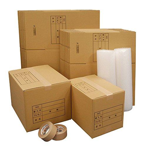 ボックスバンク ダンボール 引越しセットL ●段ボール箱(大・小)30枚、プチプチ 2巻、クラフトテープ 2巻 ZH11-0030-s