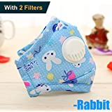 DGBAY PM 2.5 Kids Anti-Dust Mask Washable Cotton Masks+2 Valve Free Replaceable Filters,3 to 12 Years Old Children. (Blue Rabbit)