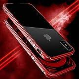 MQman 伝奇 真っ赤新登場 iphoneX アルミバンパー iphoneX ケース iphoneX メタルフレーム iphone X ストラップホール 金属合金カバー人気当店限定「表面透明強化ガラス付き 背面透明プレート付き」 (iphoneX, 真っ赤)