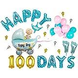 Funpa 風船 バルーン 45cm 豪華セット ベビーシャワー パーティー 100日 記念日 お祝い 可能 壁 掛け飾り アクセサリー アルミ箔 (ブルー)