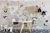 Minyose 3D壁紙カスタムオリジナル北欧手描き漫画世界地図子供部屋寝室の壁壁画-200cmx140cm