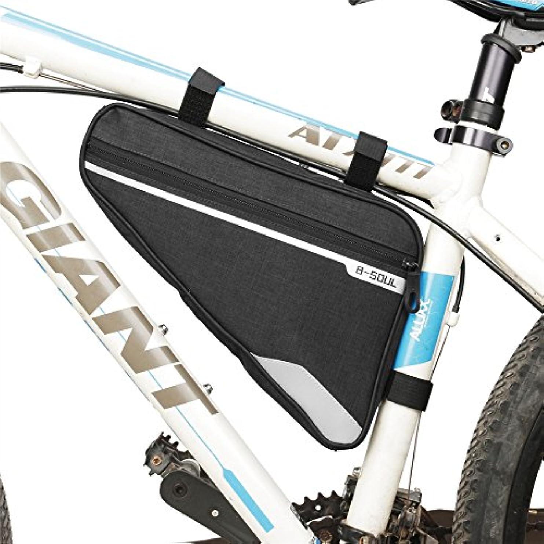 手のひら老人で自転車の座席パック袋、屋外の自転車の付属品の自転車の前部管の三角形袋 自転車サドルバッグ大容量 (色 : ブラック)