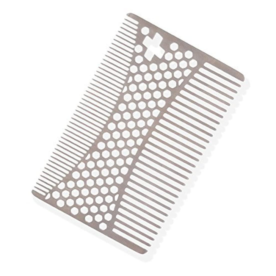 想定一定カリングSHARPSWISS Credit Card Pocket Men Hair and Beard Comb Short - Stainless Steel [並行輸入品]