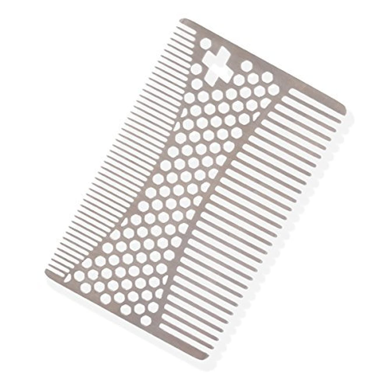不屈ふくろうありふれたSHARPSWISS Credit Card Pocket Men Hair and Beard Comb Short - Stainless Steel [並行輸入品]