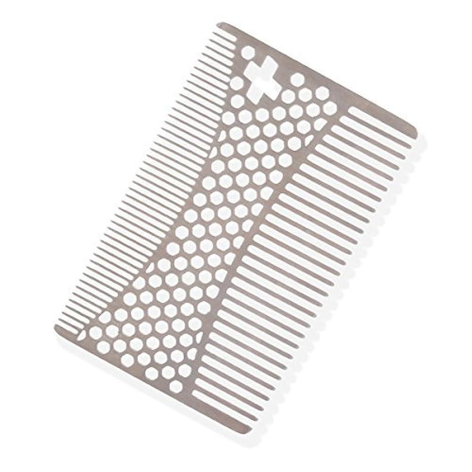 うまれた発明検査官SHARPSWISS Credit Card Pocket Men Hair and Beard Comb Short - Stainless Steel [並行輸入品]