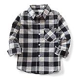 (オチェーンタ)OCHENTA 子供用 ボーイズ ガールズ 男の子 女の子 長袖 チェック柄 カジュアル シャツ キッズシャツ チェックシャツ ワイシャツ Yシャツ E004 ブラックホワイト 100CM