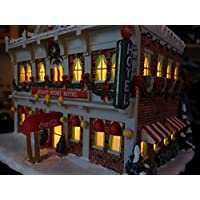 コカコーラ クリスマス レンガ造オールドホテル ジオラマライト 1Fがカフェ 古き良きアメリカの街角シリーズ 雪景色 スノータウン 超レア