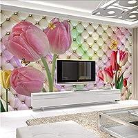 Wuyyii ファッションインテリアフラワーデザイン3D壁画壁紙現代のソフトパックステレオチューリップ写真壁の絵画リビングルームの寝室の装飾-150X120Cm
