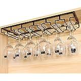 E Support Under Cabinet Stemware Rack Metal Wall Hanging Wine Bottle Glasses Holder Hanger Drying Rack for Bar or Kitchen Single Rail with Screws