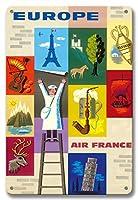 22cm x 30cmヴィンテージハワイアンティンサイン - ヨーロッパ - エアフランス - ヨーロッパ諸国のアイコン - ビンテージな航空会社のポスター によって作成された ジャン・カルリュ c.1960