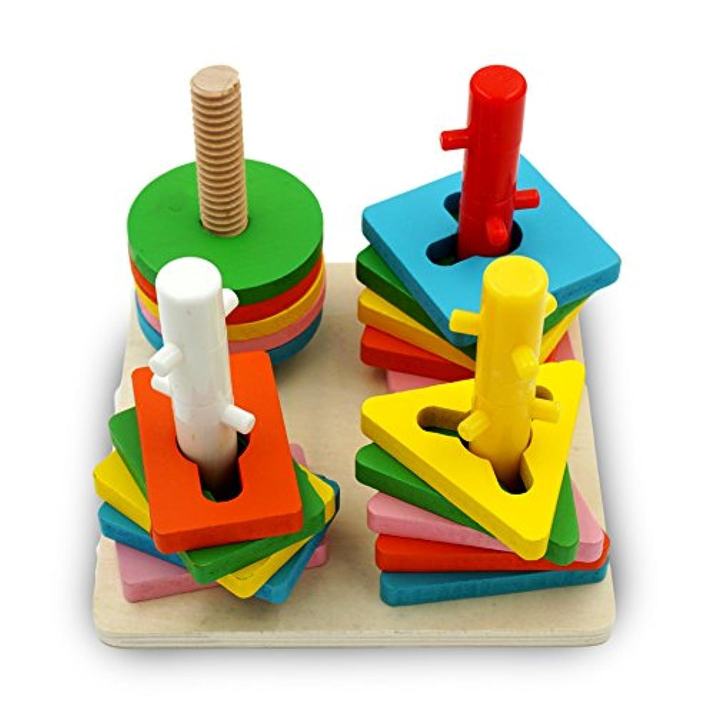 popculta木製教育Preschoolシェイプ&色認識Stackingチャンクパズルおもちゃ4列