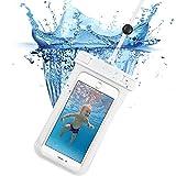 スマホ防水ケース, ESR IPX8防水力 ストラップ付属 高感度PVCタッチスクリーン お風呂 潜水 海水浴 プール 釣り スマホ防水ポーチ 6センチ以下iPhoneとAndroidスマホに対応可能(ホワイト)
