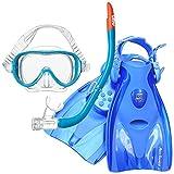 女性向け スノーケリング3点セット マスク+スノーケル+フィン 【KZ-9072+RF14】 (フラッシュブルー×BL, L)