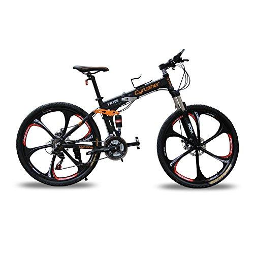 Cyrusher FR100 MTBブラック 自転車26インチ軽量折りたたみ式アルミフレーム マウンテンバイク24段変速ギア搭載 (ブラック)