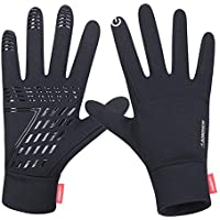 Anqier Running Gloves,Lightweight Touchscreen Cycling Windproof Gloves Women Men Climbing Driving Sports Compression Liner Gloves Winter Early Spring Fall