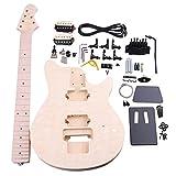 Yibuy バスウッド メープル MM1-F 6弦 エレクトリックギターDIYビルダーキット ボディピックガード ハムバッカーピックアップ チューニングペグネックノブ ギタービルダーLuthier用