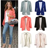 DENG&XUE Color Seven-Point Sleeves Sleeves Small Suit Suit Commuter Models Slim Jacket Women (Gray,XL)