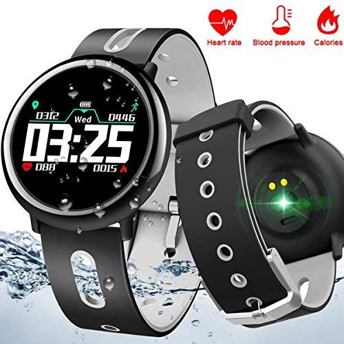 Qiwoo IP67 Waterproof Smart Watch with Heart Rate Blood Pressure Sleep Monitor for Men Women iOS Android Sports Fitness Tracker Pedometer Calorie Electronic Wearable Travel Office Bracelet [並行輸入品]
