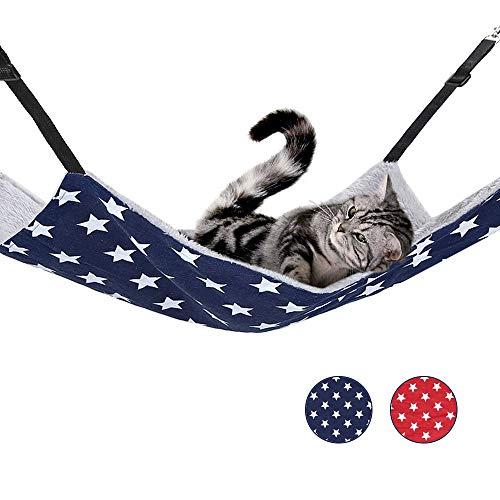 猫 ハンモック ベッド キャットハンモック ペット用 猫用品 ヒモ調整可能 冬夏両用 大型 2色