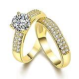 Rockyu ジュエリー ペアリング メンズ レディース ゴールド リング ダイヤモンド 結婚指輪 婚約 指輪 エンゲージ リング (ゴールド, 9)