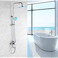 YYF-SHOWER ファッションとシンプルさ バスルーム メッキ 真鍮継手、 壁掛け式 スプレーラウンドのトップ 滝 シャワーセット、 上下に調整する ハンドシャワー シングルハンドル 冷たいお湯 3ホールマウント 現代 ファミリーホテル 蛇口 (色 : シルバー しるば゜)