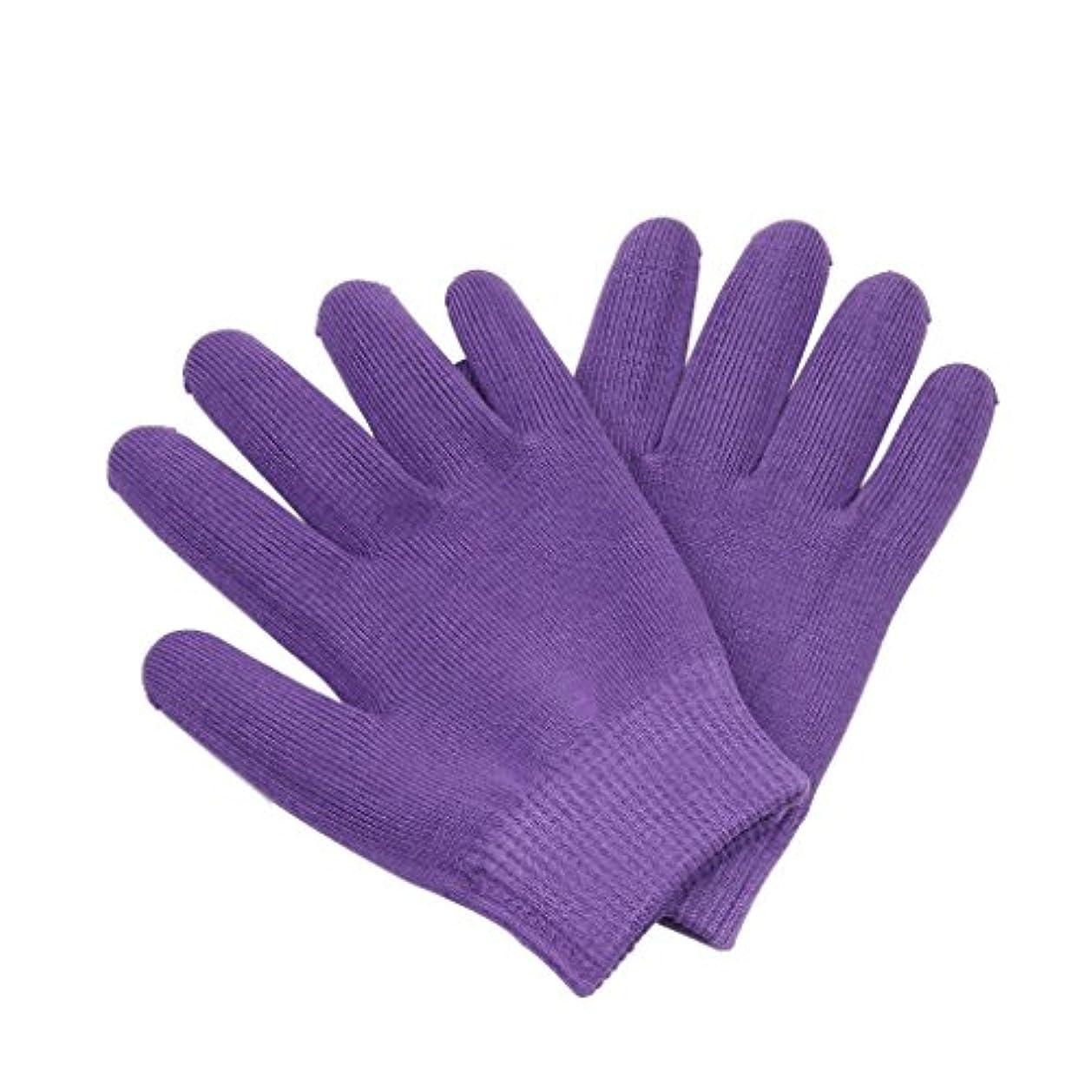 クラシック退屈なアレイ保湿手袋 おやすみ手袋 就寝用 手袋 手湿疹 肌荒れ 乾燥防止 乾燥肌 手荒れ 保湿 スキンケア 全3色選べ - 紫